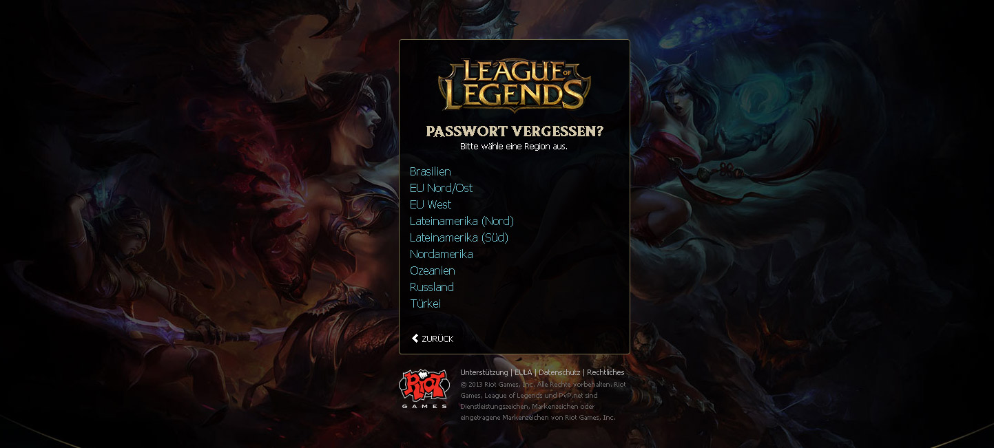 league of legends passwort vergessen
