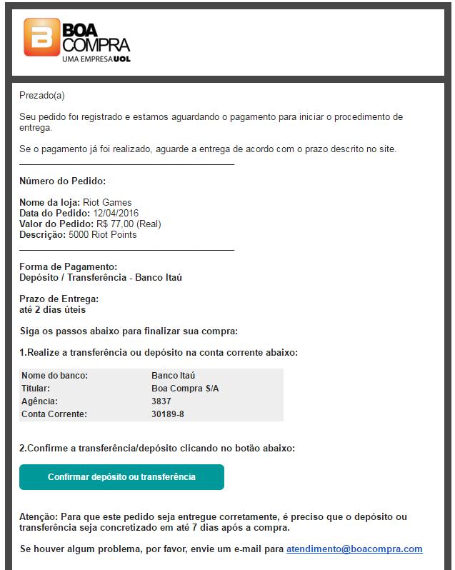 Comprando rp transfer ncia banc ria riot games for Transferencia bancaria